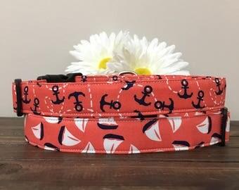 Dog collar, nautical dog collar, anchor dog collar, sailboat dog collar, sailboat collar, nautical collar, anchor collar, coral dog collar
