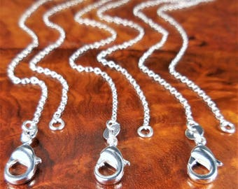 "Sterling Silver Necklace Chains - 925 Link Chain (Z24) Soldered Necklaces - Lobster Claw Clasp - Jewelry Supplies - 16"" 18"" 20"" 22"" 26"""