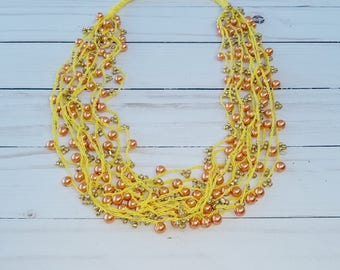 Orange Necklace, Multi Strand Crochet Necklace, Beaded Necklace, Crocheted Necklace, Glass Beads, Birthday Gifs For Her
