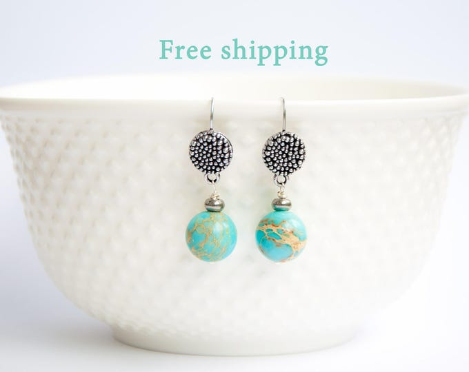 Jasper jewelry, Jasper stone jewelry, Globe earrings, Earth earrings, Jasper earrings, Jasper stone earrings, Blue green earrings