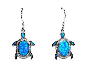 High Quality Blue Fire Opal Inlay Genuine 925 Sterling Silver Turtle Dangle Earrings