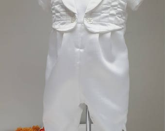 Baby Boy Christening Romper Suit, Baptism Romper Suit, white romper, white christening romper. White Satin romper. 9-12 months by JQDresses