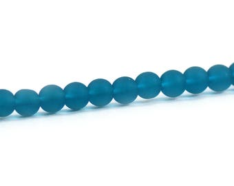 Recycled Cultured Sea Glass Round Beads Teal Blue 6mm