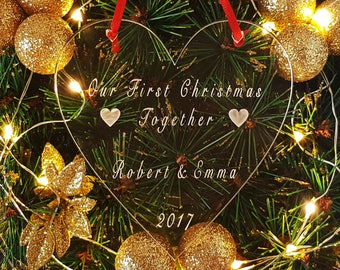 Personalised Our First Christmas Together Heart Tree Decoration, Couples Your 1st Xmas Personalized Keepsake, Ornament Bauble, Gift Bag