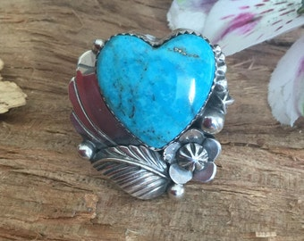 Bisbee Turquoise Heart Statement ring, Sterling silver, Artisan Handmade, Size 9
