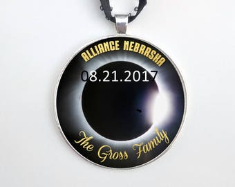 """Custom Personalized Solar Eclipse Ornament with Date - Sterling Silver Plated - 2"""" Large ornament - After Xmas Delivery"""