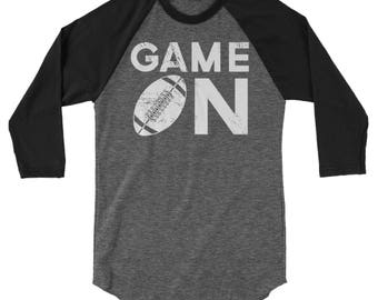 Football Game On 3/4 Sleeve Raglan | Baseball, Volleyball, Basketball, Soccer Sport | Fall Sports | Sports Mom