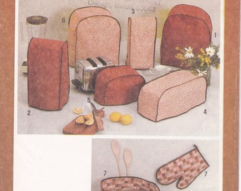 FREE US SHIP Simplicity 9532 Vintage Retro 1980s 80s Kitchen appliance Covers Sewing Pattern Mixer Blender Toaster Casserole Bun warmer ff