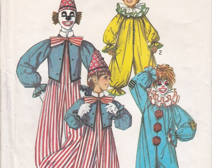 Free Us Ship Vintage Simplicity 7162 Childs Clown Costume Sewing Pattern Uncut Jumpsuit Boy Girl Size 6 8 Factory Folded
