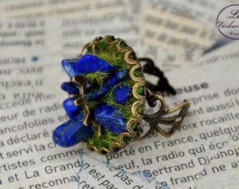 """Géologhia"" Steampunk Adjustable ring: Lapis Lazuli"
