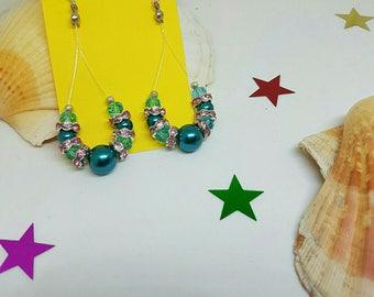 Earrings drops beads teal