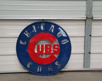 Metal chicago cubs sign. chicago cubs sign. lighted chicago cubs sign. Chicago cubs decor. Chicago cub gift ideas. chiago cub fans