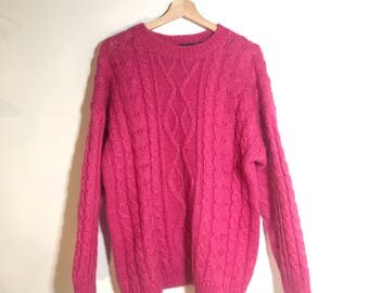 Fuzzy pink mohair sweater