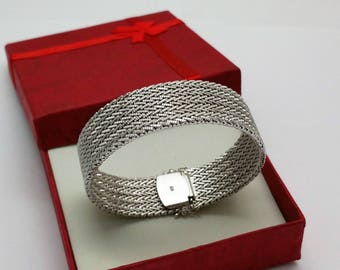 Bracelet mesh silver 835 vintage elegant SA336