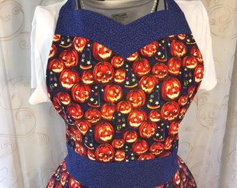 Halloween Apron, Pumpkins, Jack-o-Lantern, Women's Apron
