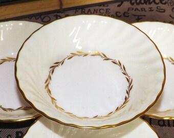 Vintage (c.1980s) Minton S-520 Lady Devonish fruit nappie, berry, or dessert bowl. Golden laurels, cream verge, gold edge.