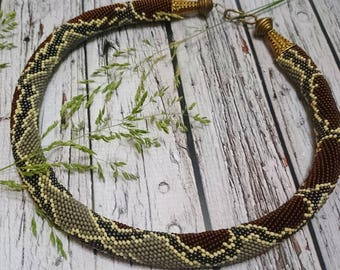 Black brown seed bead necklace rope crochet python snake pattern reptile beaded necklace seed bead jewelry cute spiral beaded rope necklace