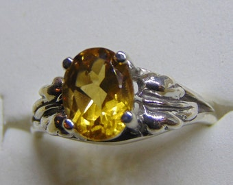 lustrous citrine solitaire silver ring with nice leaf accent natural earth mined heated fall spring theme birthstone november free shipping