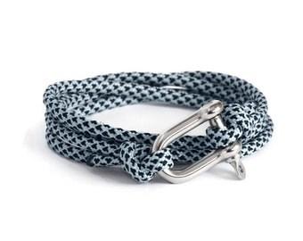 Shackle Bracelet, Sky Blue Diamond & Silver, Sailing Rope Bracelet, Mens Bracelet, Nautical Jewellery.