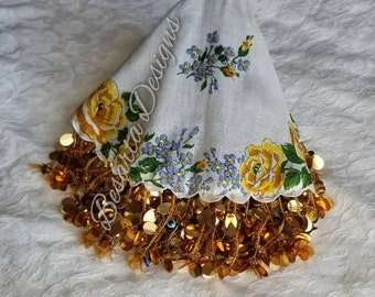 Gold floral mindil/ handkerchief