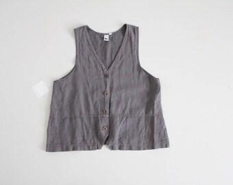 charcoal linen top | 90s linen blouse | linen vest top