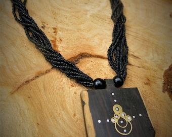 African Ebony Pendant // Free Shipping // Statement Necklace // Tribal Jewellery // Boho Jewellery // Africa Jewellery //African tribal bead