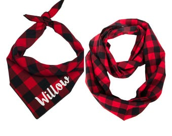 Owner Dog Matching, Personalized Dog Bandana, Buffalo Plaid Scarf, Buffalo Plaid Dog Bandana, Match Dog Owner, Pet Gift, Dog Gift, New Puppy