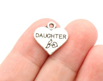 8 Pcs Daughter Charms Family Charms Antique Silver Charm 17x17mm - YD0059