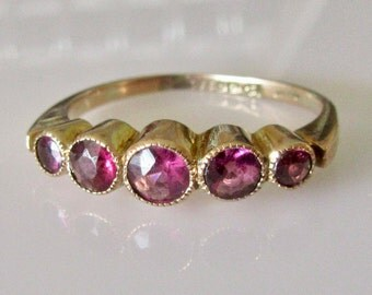 9ct Gold Amethyst Half Band Ring