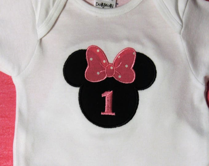 Minnie Inspired birthday bodysuit,Minnie Mouse 1st birthday,girls first birthday,girl first birthday,Disney theme birthday,pink and white