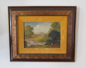Antique Master Painter Original Oil Painting Canvas Panel Wood Frame Country Landscape