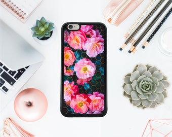 Peonies Iphone 7 case geometric Iphone 8 hard case pink roses phone case protective case iphone 8 case gift for her Valentines day OT88