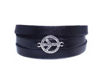 Peace Leather Bracelet Men's Bracelet Men Leather Bracelet Peace Sign Bracelet Leather Mens Leather Bracelet Bracelet For Him Peace bracelet