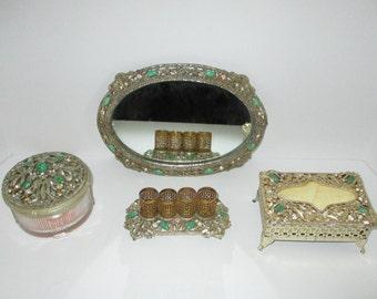 Vintage Sam Fink Vanity Set Dresser Box Lipstick Holder Tissue Box Mirror Tray AB Rhinestone Faux Malachite 4 Piece SF Set Art Deco