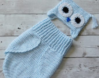 Newborn owl cocoon set - newborn owl photo prop-owl cocoon and hat set-owl baby costume-baby sack-owl baby sack-owl baby gift set- owl hat