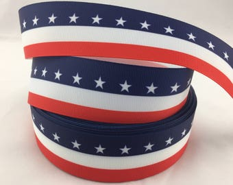 """American Grosgrain Ribbons,Fourth of July ribbons,  America  ribbon. Available in 5/8"""", 7/8"""" or 1.5"""""""