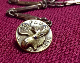 Vintage Fraternal Repousse Loyal Order of the Moose Fob with Watch Chain
