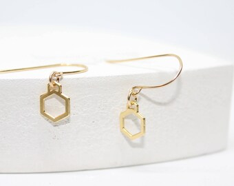 Valentine's day gift-Gold plated Hexagon Earring-Dainty Earrings, Honeycomb Earrings-Goldfilled hooks-Geometric Earrings-goldfilled earrings