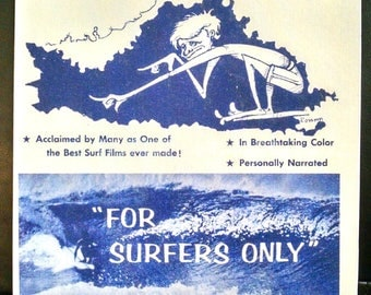 SURF FILM POSTER - 11 x 14 canvas transfer print - classic vintage style