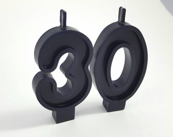 Black or White Birthday Number Candle