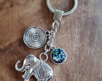Keychain - Indian Elephant Gemstone Mandala
