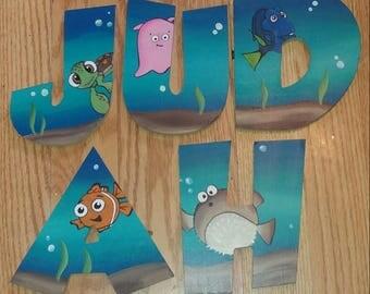 Custom Wooden Letters Finding Nemo/Finding Dory Room Decor Kids Wall Letters Nursery Letters Kids Name Decor Finding Nemo Nursery Decor