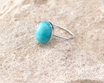 Sterling silver amazonite ring, oval stone ring, oval gemstone ring, stackable sterling silver ring, blue gemstone ring, gift for her