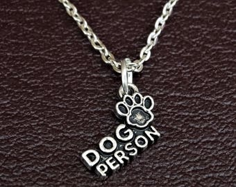 Dog Person Necklace, Dog Person Charm, Dog Person Pendant, Dog Person Jewelry, Dog Necklace, Dog Jewelry, Dog Lover Gift, Dog Memorial Gift