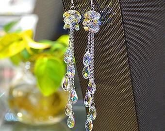 925 silver  Bridal Jewelry Bridal Earrings, Drop Crystal Bridal Earrings, Wedding Earrings, Bridal Jewelry