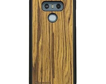 LG G6 - Olive -  Wood Case - Real Wooden Case - Black Bumper