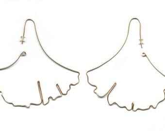 Gingko leaf gold earring