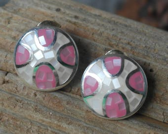Vintage Sterling Silver Pink And White Mother of Pearl Stud Statement Earrings