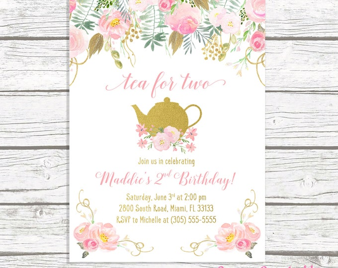 Tea for Two, Tea Party Birthday Invitation, Tea Party Invitation, Pink and Gold Birthday Invitation, Girl First Birthday Party Invitation