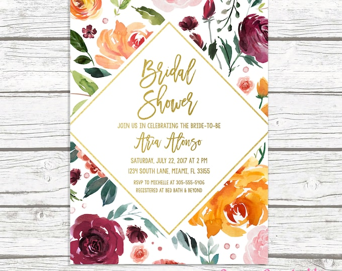 Fall Bridal Shower Invitation, Marsala Bridal Shower Invitation, Burgundy Bridal Shower Invitation, Rustic Bridal Shower Brunch Invite